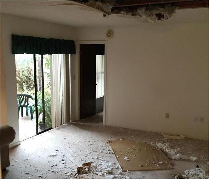 Interior room with drywall on the floor and hole in the ceiling