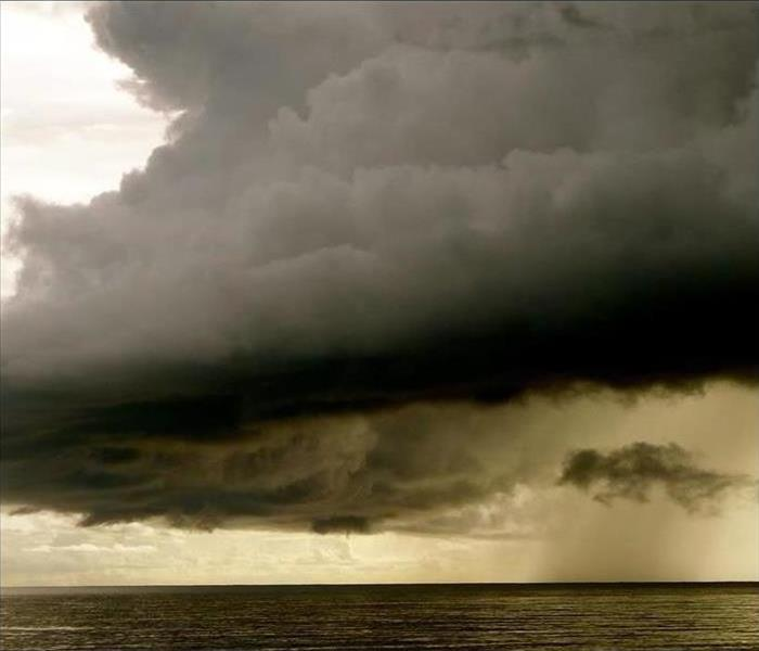 Gulf of Mexico with dark storm clouds above