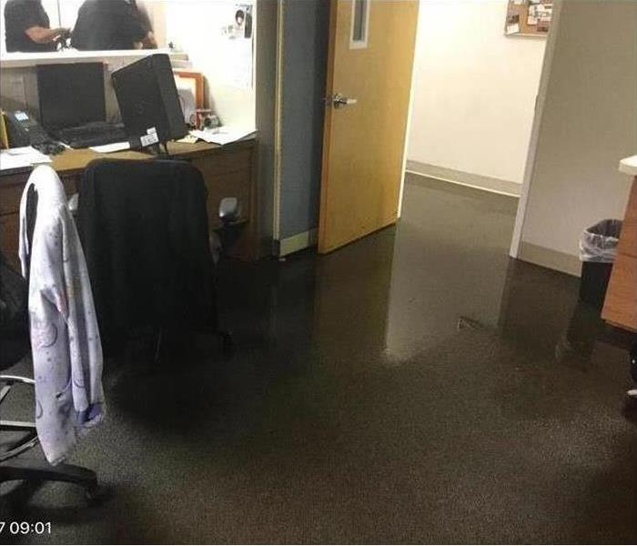 water on an office carpeted area